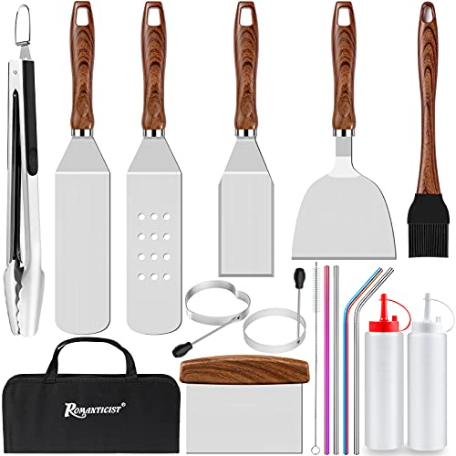 ROMENTICIST 17pcs BBQ Griddle Accessories Cooking Kit, Heavy Duty Extra Long Spatula Set, Stainless Steel Grill Tool Utensils for Flat Top, Teppanyaki, Hibachi, Grilling, Camping, Tailgating Brown