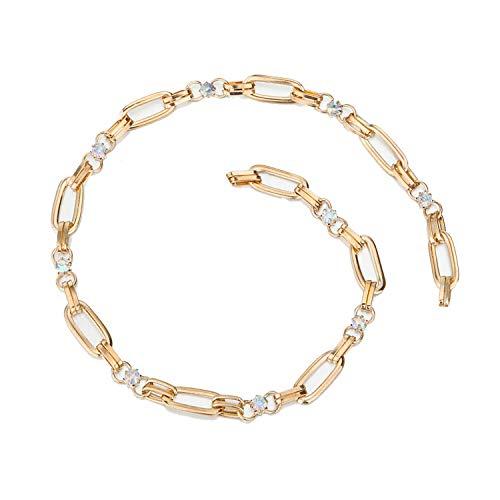 Chaîne en métal avec des cristaux ronds et ovales de coupe décorative en cristal Diamantes, plaqué or ou bronze. Différentes longueurs et version ceinture complète, fermoir mousqueton