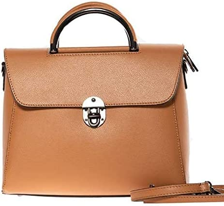 Italian Tan Calf Leather Top Handle Handbag by Vittoria Pacini