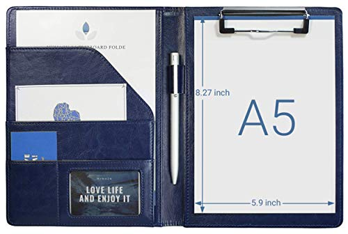 Small Padfolio Clipboard A5 Folder for Writing Pad Refillable 5 x 8 Note pad, Mymazn Faux Leather Clipboard Folder Junior Size Portfolio 5x8 Folio Clip Board (Blue)