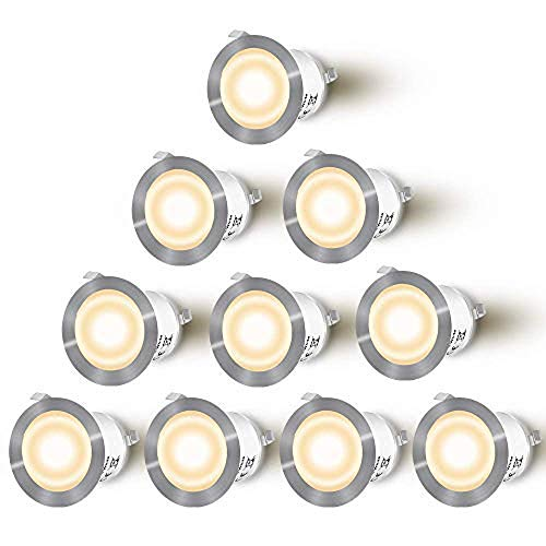 Lixada Recessed LED Deck Light Kit /10 Pack/ 12V Low Voltage Warm/Natural White φ22mm Waterproof IP67, LED in Ground Lights for Steps,Stair,Patio,Floor,Pool Deck,Kitchen