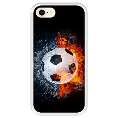 Hapdey Funda Transparente para [ iPhone 7-8 ] diseño [ Fuego y Agua, balón de Futbol ] Carcasa Silicona Flexible TPU