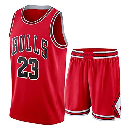 Juego de Camiseta de Baloncesto para Hombre Jordan, toros # 23 Retro Baloncesto Chico Camisetas y Pantalones Cortos Camiseta Deportiva Top, Transpirable y cómoda Sud red-2XL