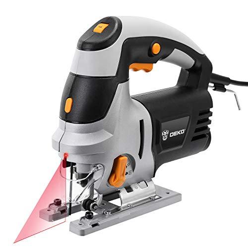 DEKO Jigsaw Laser Guide Elektrische decoupeerzaag, 6 variabele snelheid, elektrische zaag met 6 stuks messen, metalen liniaal, inbussleutel Jigsaw Power Tools