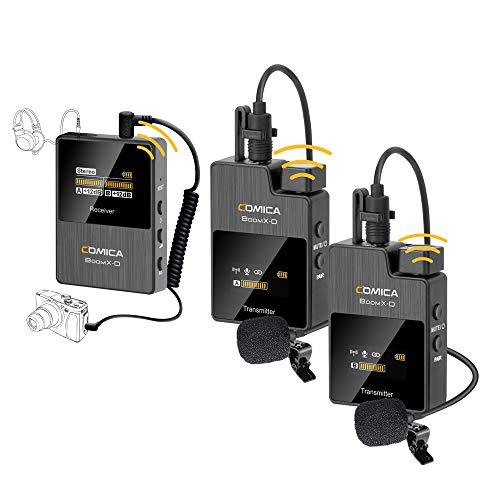 Micro Cravate sans Fil Système de Clip-on 2.4G avec entrée Interne/Externe et écran LCD, Prise en Charge de la Surveillance Audio Sortie Audio, COMICA BoomX-D D2