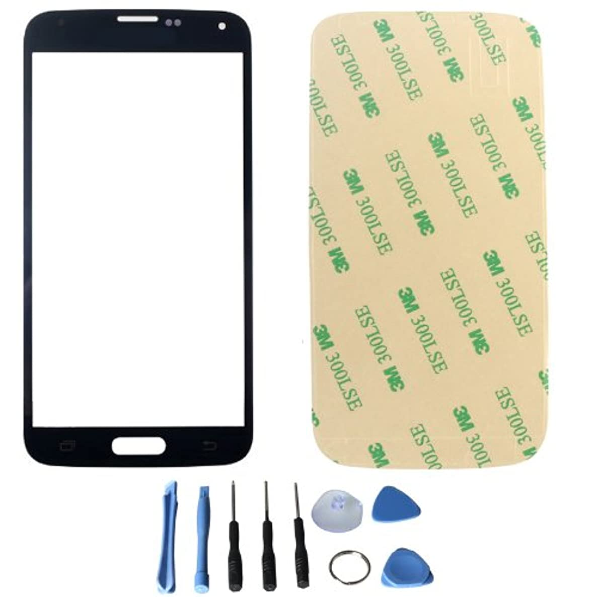Front Screen glass lens for Samsung Galaxy S5 i9600 G900 with free tools (Not include LCD) (Black + 3M Adhesive)