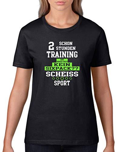 Comedy Shirts - Schon 2 Stunden Training und Immer noch kein Sixpack?? - Damen T-Shirt - Schwarz/Weiss-Neongrün Gr. XL