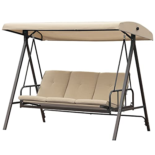 Aoodor Outdoor Converting Patio Porch Swing Bed with Adjustable Canopy, Weather Resistant Glider with Removable Olefin Cushions, 3 Seater - Brown