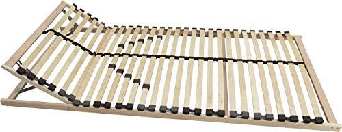 anTes interieur Lattenrost 100 x 200 cm / 7 Zonen Komfort / 5-Fach Verstellbarer Härtegrad/bewegliches Kopfteil / 28 Federleisten/geeignet für alle Matratzen
