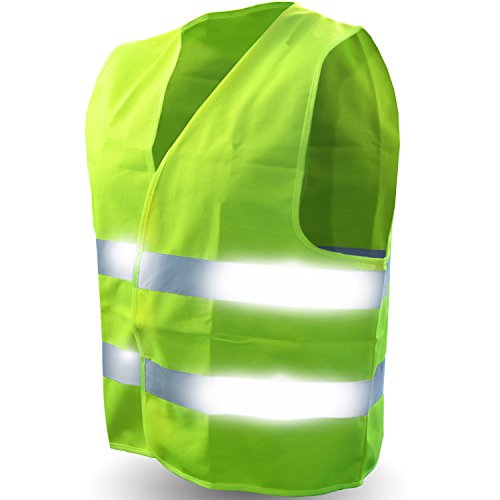 Safety Reflective Vest (ULTRA HIGH VISIBILITY BRIGHT NEON YELLOW) Perfect for Running, Jogging, Walking, Construction, Cycling, Motorcylcle Riding, and More!