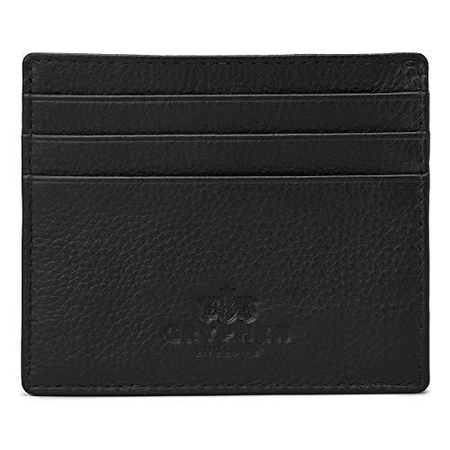 Gryphen, Hoxton, portafogli sottile, in pelle, per carte di credito, Nero