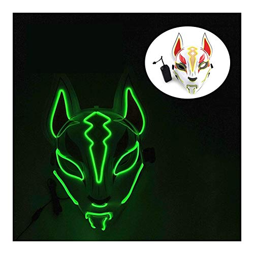 SSN Fox japons Mscara de nen llev la luz de Cosplay de la mscara del Fiesta de Halloween del delirio llev la mscara de la Danza de DJ da de Pago Complementos Disfraz (Color : C)