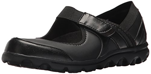 Propet Women's Onalee Mary Jane Flat, Black Smooth, 10 XX-Wide