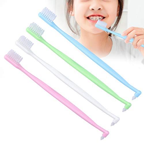 Cepillo de dientes de ortodoncia de 4 piezas Cepillo de dientes de espacio intermedio de doble punta para limpieza de dientes de ortodoncia, cepillo de cepillo de dientes de limpieza de tirantes