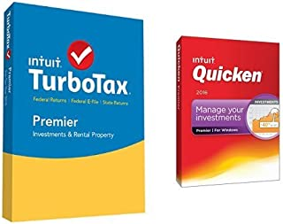 TurboTax Premier 2015 Federal + State Taxes + Fed Efile Tax Preparation Software PC/Mac Disc with Quicken Premier 2016 PC Disc