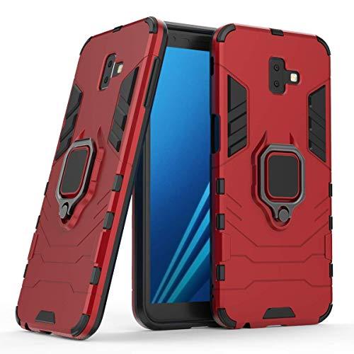 Capa para celular Samsung J6 PLUS, em material tpu, com fivela magnética giratória de 360 °,vermelho