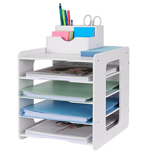 Schreibtisch-Organizer, Briefablage, Dokumentenhalter, A4-Papierablage, für Zuhause, Büro, Schule, 5 Ablagefächer