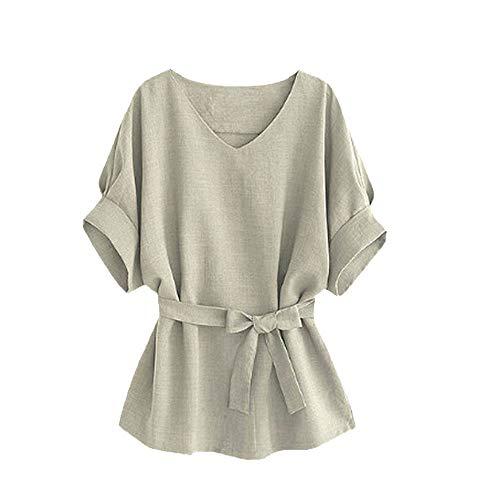 OSYARD Frauen V-Ausschnitt Kurzarm Bluse Tops T-Shirt Slim Fit Oberteilemit Gürtel,Online Damen Oberseiten Kleidung Tunika Frühling Sommer Hemd
