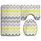 Soft and Cozy Tub-Shower Bath Rug Set Yellow Grey Gray Patterns Super Absorbent Toilet Floor Mat - 3 Pack Memory Foam Non Slip Bath Mats and Rug Sets for Hotel & Spa Tub
