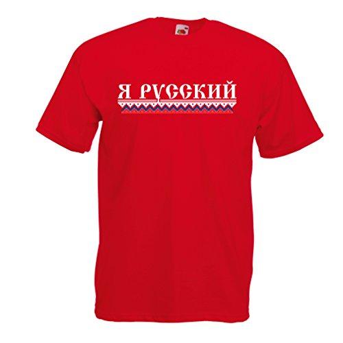 Männer T-Shirt Ich Bin Russisch, ich Liebe Russland (Medium Rot Mehrfarben)