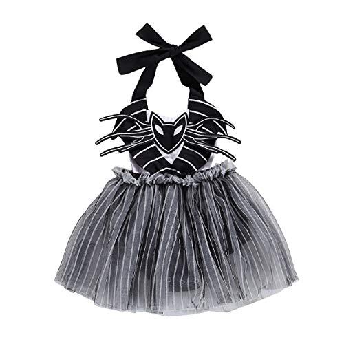 Toddler Baby Girl Halloween Clothes Long Sleeve T-Shirt Tops Pumpkin Plaid Suspender Skirt Headband Overall Outfit (Black, 18-24 Months)