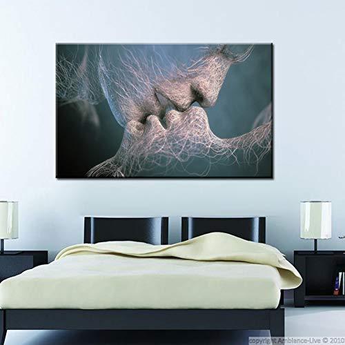 GASFG Abstract kunst schilderkunst liefde kus schilderij kunst schilderij canvas Home Gerahmt 60 x 80 cm.