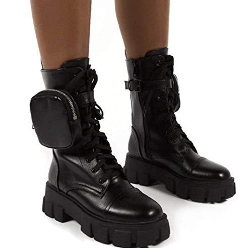 UMOOIN Chunky Boots Pocket Platform Stiefel Frauen Knöchelstiefel Lace Up Gürtelschnalle Pouch Knöchelstiefel,Schwarz,38