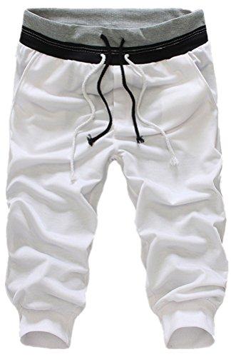LANBAOSI Men's Jogger Sport Short Capri Pants Cropped Harem Trousers White