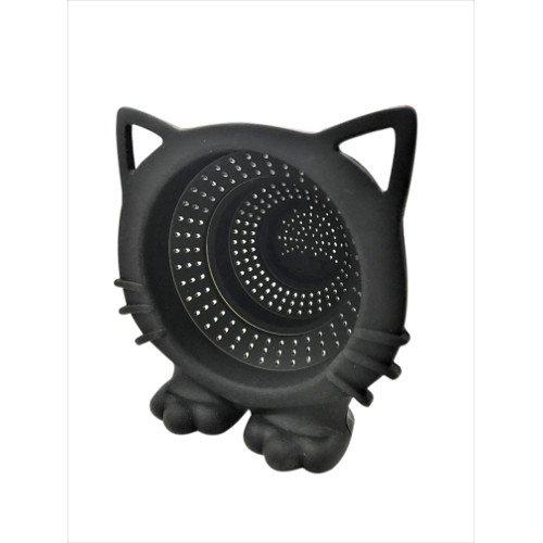 CKB LTD® Zwarte CAT Meow Inklapbare TEA STRAINER Siliconen Theefilter Novelty Maker Ei Met Hoed Themed Druppellade ñ Ideaal voor Losbladige Thee Zeefthee Pot Mok Bekers Kunststof