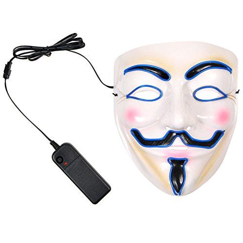 LED 光る アノニマス マスク お面 仮面 ハロウィン 仮装 パーティー (ブルー)