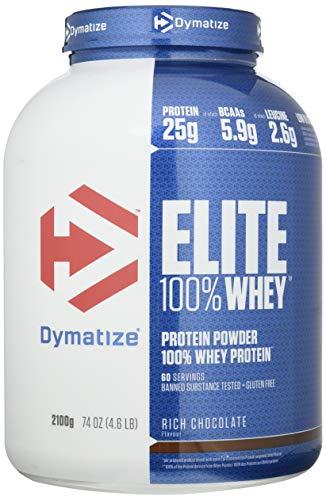 Dymatize Elite Whey Rich Chocolate 2,1Kg - Pulverizador de alta Poteína y Baja Azúcar + Proteína de Suero y BCAA