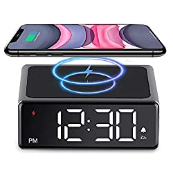 LIORQUE Wireless Charging Alarm Clock LED Display with 4 Dimmer for Qi Standard iPhone Galaxy Samsung Android Digital Clock with USB Cable