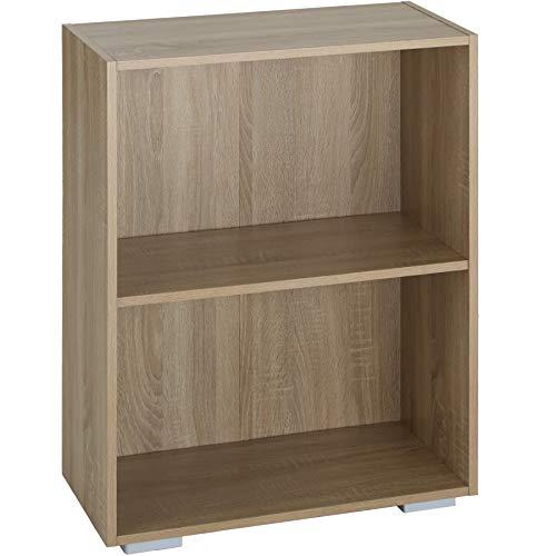 tectake 800840 Bücherregal aus Holz, Standregal mit 2 offenen Fächern, (BxTxH): ca. 60 x 30 x 77 cm, bodenschonende Kunststofffüße (Eiche)