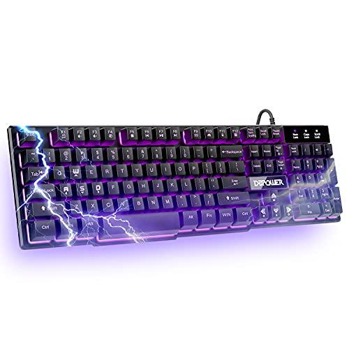DBPOWER Tastatur mit Hintergrundbeleuchtung in drei Farben, für Gaming, Bürogeräte