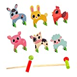 Toddmomy Kids Croquet Set Cartoon Wooden Animal Croquet Game Sports Games Educational Toys for Boys and Girls Garden Lawn Backyard