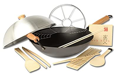 Joyce Chen 22-0040, Pro Chef Flat Bottom Wok with Excalibur Non-stick coating, 14-Inch
