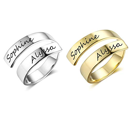 Grand Made Spiral Twist Trust Ring Engraved 2 Names Adjustable Wrap Ring Stacking Ring Promise Ring Gift for Woman on Birthday Anniversary Stainless Steel (Silver+Gold, Stainless Steel)