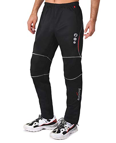 4ucycling Windproof Athletic Pants for Outdoor and Multi Sports L-promise, WEIGHT-140-165Lbs HEIGHT-56'-58' L, Black&Red