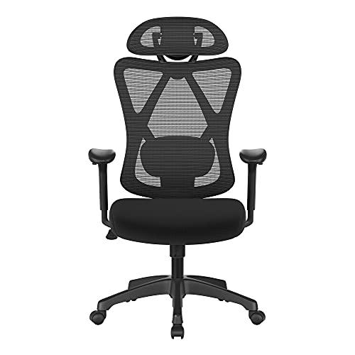 SONGMICS Bürostuhl, ergonomischer Schreibtischstuhl, Computerstuhl, Netzstuhl, verstellbare Lendenstütze und Kopfstütze, bis 150 kg belastbar, höhenverstellbar, schwarz OBN063B01