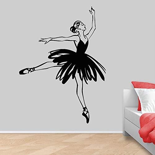Calcomanía de vinilo para pared de bailarina, estudio de baile de Ballet, pegatina de pared para niña, decoración de habitación, pegatina de pared, Mural A5 77x57cm