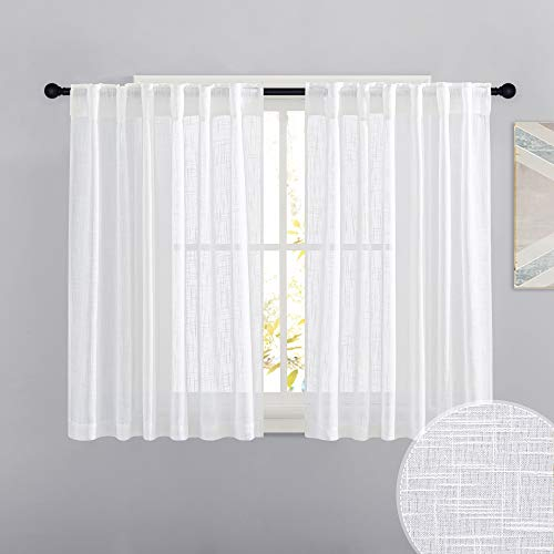 RYB HOME White Curtains for Bedroom - Linen Textured Semi Sheer Curtains Privacy for Bedroom Bathroom Kitchen Dining Office Window, 52 Wide x 45 inches Long, 2 Pcs