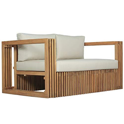 Teako Design Lounge Sofa 2-Sitzer Loppio Teakholz robust mit Auflagen unbehandeltes Massivholz Wetterfest Gartensofa