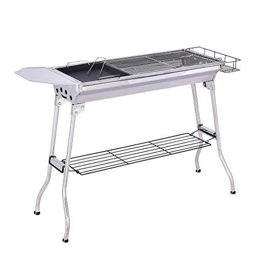 FORYULIK BBQ Charcoal Grill Durable Stainless Steel Portable Folding Barbecue Grill Easy to Store and Install with Non-Stick Baking Pan for Outdoor Backyard Party