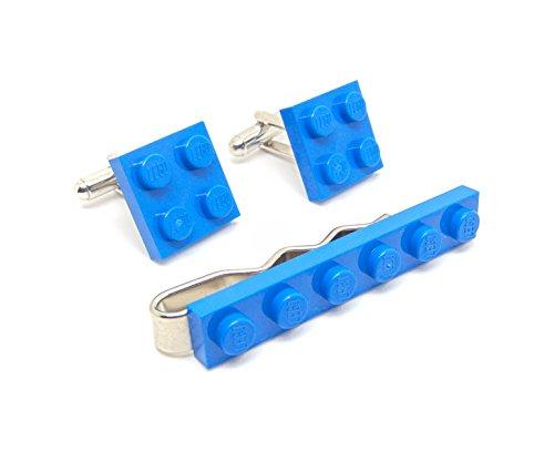 Bleu authentique Lego plaque Pince à cravate et boutons de manchette – Funky rétro Cool Boutons de manchette fabriqué par Jeff Jeffers