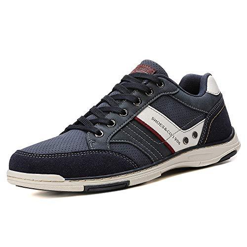 AX BOXING Zapatillas Hombres Deporte Running Sneakers Zapatos para Correr Gimnasio Deportivas Padel Transpirables Casual(44 EU, Azul)