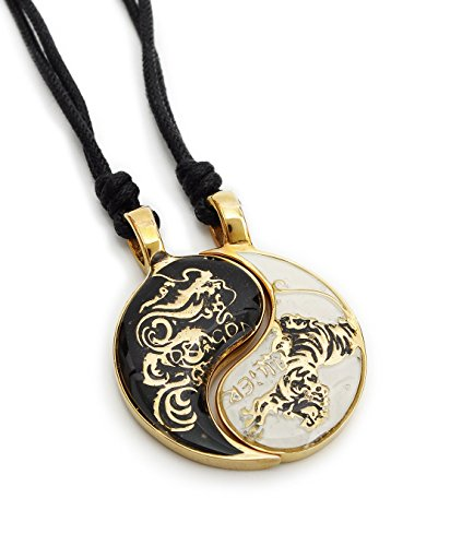 Dragon Tiger Yin Yang Seperated (2 Necklaces) Handmade Brass Necklace Pendant Jewelry