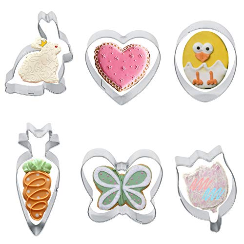 Easter Cookie Cutters Set Cookie Cutters Shapes Easter Bunny Easter Egg Chicken Flower Butterfly Carrot 6 Pieces Mold for Baking Cake Decorationfor Holiday Celebration Parties