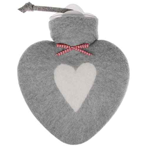 Wärmflasche/Herzwärmflasche 0,8 Liter mit Bezug aus Merinowolle gefilzt grau mit weißem Herz von Dorothee Lehnen