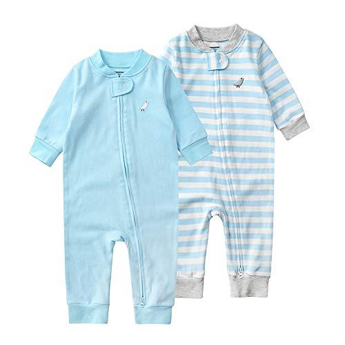 Baby Schlafstrampler Einteiliger Langarm Schlafanzug ohne Fuß 100% Bio-Baumwolle Baby Kleinkinder Schlafoverall Strampelanzug Pyjama 2er Pack Unisex für 0-24 Monate (Blaue Streifen, 90cm)