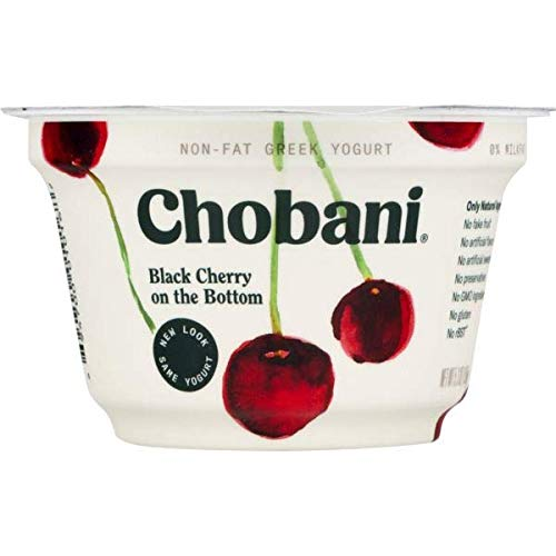 Expect More Chobani Non-Fat Greek Yogurt Black Cherry On The Bottom 5.3 oz pack of12